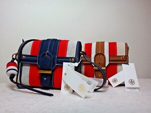 NWT Tory Burch Canvas & Suede Crossbody, Natural/Brown/Navy