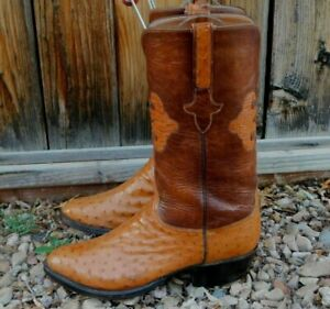 LUCCHESE Original Black Label Full Quill Ostrich COWBOY BOOTS 9.5D $1499.99
