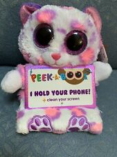 Ty Peak A Boos Cat Savannah Phone Holder& Screen Cleaner Pink/Purple Plush Cute