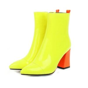 New Ladies Patent Leather Pointed Toe Square Heel High Heels Zipper Ankle Boots