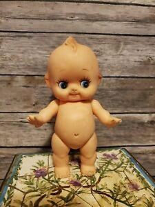 """Vintage Kewpie Doll 8"""" tall Rubber Baby Blue Eyes Pointy Fingers"""