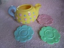Fisher Price 77865 Musical Tea Set Replacment 2000 Pot Saucers Lot 4 Mix Donor