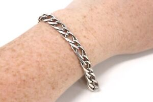 A Lovely Vintage Sterling Silver 925 Italy Fancy Curb Link Chain Bracelet #33214