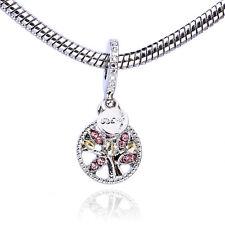 Retro 925 Silver Family Tree Pink CZ Dangle Charm Bead Fit Bracelet Necklace