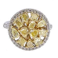 2.10 T.C.W Fancy Yellow Diamond Cocktail Ring 18k White Gold