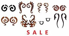 Wholesale Lot of 8/ A Pair of Wooden Boho Tribal Wudu Wood Fake Gauge Earring G3