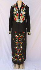 Vtg Embroidered Floral Black 2 Piece Maxi Skirt Shirt Top Set Ethnic Boho Sz 14