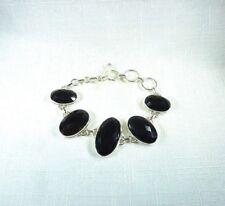 Natural Oval Black Faceted Onyx 925 Sterling Silver Toggle Bracelet