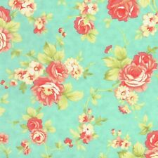 MODA Fig Tree & Co Farmhouse Rose Flower Bouquet on Green Cotton Fabric - FQ