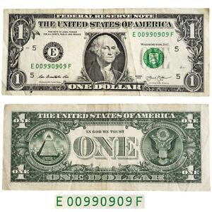 Dollar Bill Fancy Serial Number Note Binary E 00990909 F 2013
