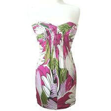 Arden B Womens Strapless Floral Party Mini Dress Pink Green White Small NWT
