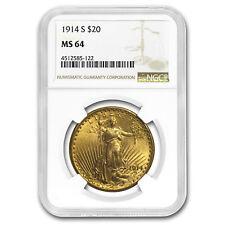 1914-S $20 Saint-Gaudens Gold Double Eagle MS-64 NGC - SKU#153633