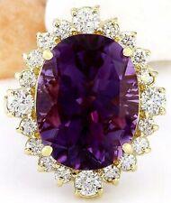 11.00 Carat Natural Amethyst 18K Solid Yellow Gold Luxury Diamond Ring