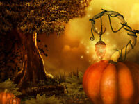 Magical Forest Halloween Pumpkin old Tree Backdrop 7x5ft Vinyl Photo Background