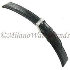 20mm Morellato Black Shark Grain Leather Padded Stitched Mens Watch Band 831