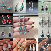 925 Silver Gemstone Moonstone Dangle Drop Earrings Hook Women Fashion Jewelry