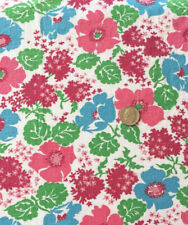 """Vintage Full Sack Lovely Aqua, Pink, Maroon Floral w/Green Accents  44"""" x 36"""""""