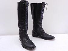 VIA SPIGA Vintage Womens 8 Black Leather Laced Side Zip Cap Toe Riding Boots