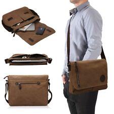 """[Multi-Pocket] Military Canvas Satchel School 14"""" Laptop Shoulder Messenger Bag"""