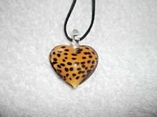 Unwanted Brand New GLASS Orange & Black Spotted HEART NECKLACE Great Gift