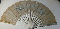 Large Antique Victorian Hand Painted Lace Fan c1870 For Restoration