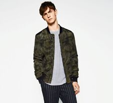 0a5882d7f927b NWT Zara Man Green Camouflage Bomber Jacket Zip Up Slim Fit Size S, M,