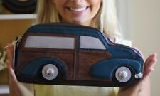 $368 Kate Spade Roadtrip Knock On Wood Woody Wagon Car Leather Clutch Purse RARE