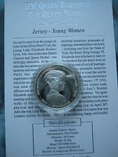 Jersey 2002 5£ Pounds Silver Proof Young Lady Queen Mother Memorial Coin + COA