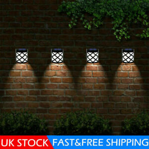 4 X LED Solar Powered Fence Wall Lights Garden Lamp Step Path Decking Outdoor UK