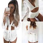 Womens Celeb Sexy Mini Playsuit White Jumpsuit Summer Shorts Beach Sun Dress G4