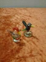 2X Vidrio Figura Pájaro - Vintage
