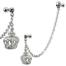 One Chain Linked Dangle Royal Crown Skul lGemmed Double Cartilage Tragus Barbell