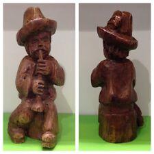 Antique Chiffre en Bois Déco Homme avec bonnet OBJET DE COLLECTION