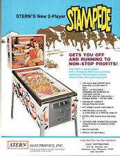 STAMPEDE Original Promo PINBALL Flyer STERN 1977 Brochure Ad Slick