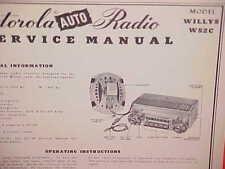 1952 WILLYS AERO ACE WING LARK EAGLE MOTOROLA AM RADIO SERVICE MANUAL MODEL WS2C