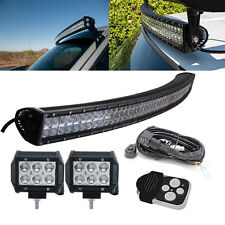 "50"" Curved LED Light Bar + 4"" Pods Kit for Offroad Jeep Ford Chevrolet Pickup"