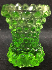 Green Vaseline glass flower / bud vase toothpick holder uranium Hobnail pattern