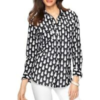 Talbots Womens Pineapple Print Button Up Front Shirt Navy Sz SP PS Petite Small