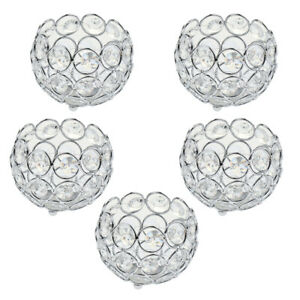 5x Crystal Beads Candle Lantern Holders Candlesticks Xmas Table Centerpieces