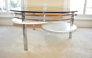 VINTAGE CHROME & GLASS CIRCULAR COFFEE TABLE 1960s/70s SWIVEL SHELFS - DESIGNER