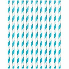 Pack de 24 Bleu Caraibe 19cm Pailles en Papier Anniversaire Mariage