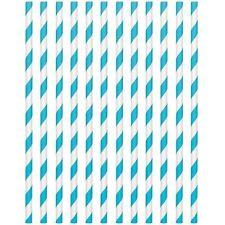 24pk Caribbean Blue 19cm Paper Straws Birthday Wedding Party Tableware
