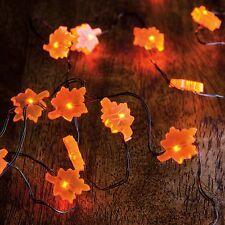 "Autumn Leaf 3' 6"" Electric Wire 20 Light Garland Strand Decor~Timer~Tree/Wreath"