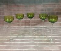 Set of 5 Vtg Green Ribbed to Clear Cordial Liqueur Glasses on long thin Stems