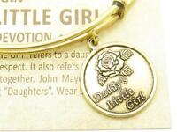 Wind and Fire Daddy's Little Girl Gold Charm Wire Stackable Bangle Bracelet Gift