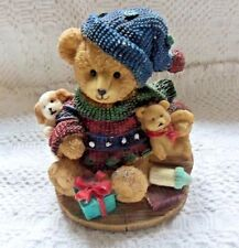 Brown Resin Party Bear Multi Color Sweater Figurine