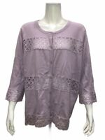Isaac Mizrahi Women's Lace Striped 3/4 Sleeves Cardigan Pastel Lilac 2X Size