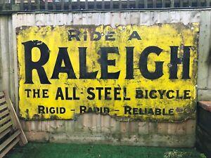 "Large Vintage Enamel Sign 'Ride a Raleigh' 114cm x 214cm - 3ft 9"" X 7ft"