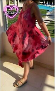 Red Printed Abstract Print Hanky Hem  Strap Summer Sundress Onesize 10-18 Italy