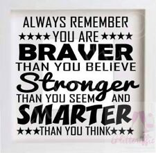 BRAVER STRONGER SMARTER  VINYL DECAL STICKER FOR IKEA RIBBA BOXFRAME DIY GIFT
